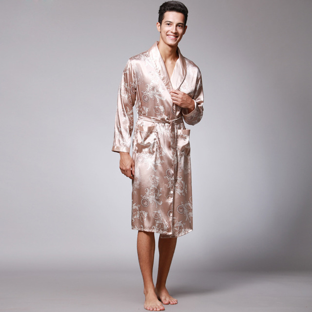 New Men's Spring Robe Bathrobe Yukata Male Rayon Kimono Bath Gown Nightgown Sleepwear Sleepshirts Pijama Mujer L-XXL