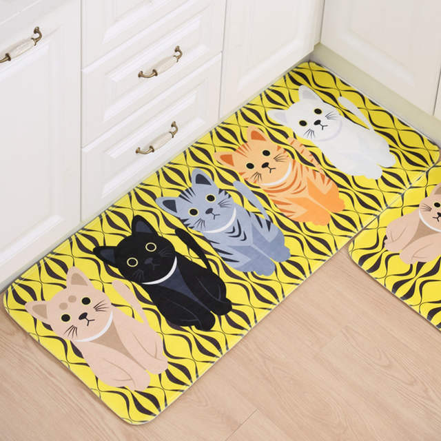 Online Shop Cartoon Cat Print Bath Mat Non Slip Bathroom Carpet