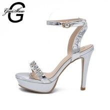 GENSHUO 12 CM Heels Spike Plattform High Heels Sandalen Frauen Knöchelriemen Sommer Kleid Schuhe Frau Offene spitze Sandalen