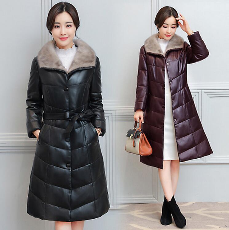 2017 New Winter font b Women b font PU Coat Fur Collar PU Down Cotton font