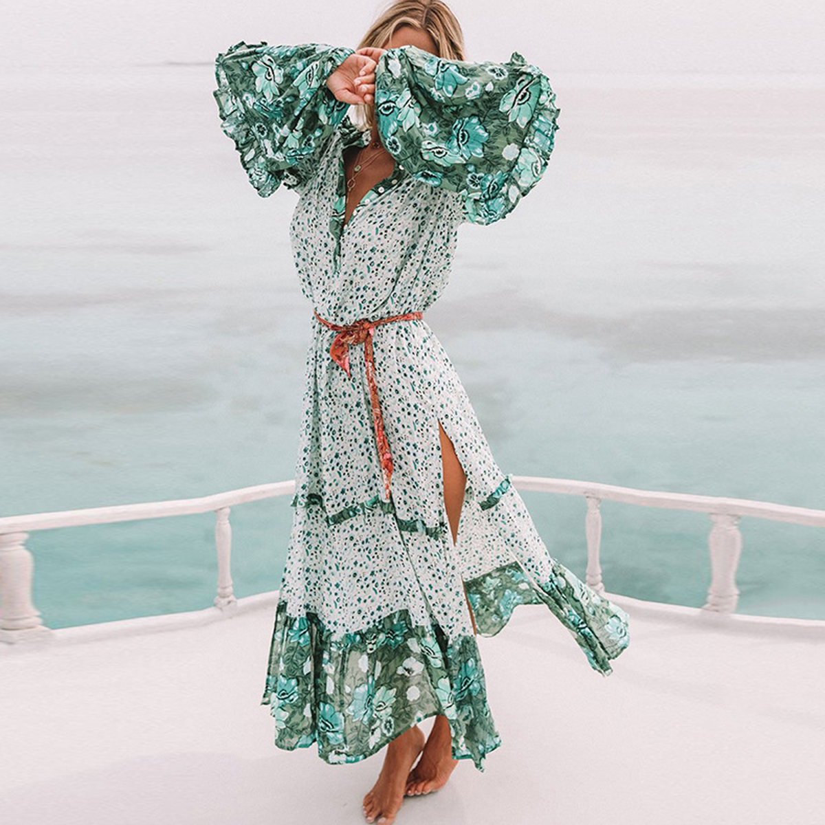 Jastie V-Neck Long Sleeve Midi Dress Green Floral Print Women Dresses High Side Slits Boho Hippie Beach Dress Vestidos 2018