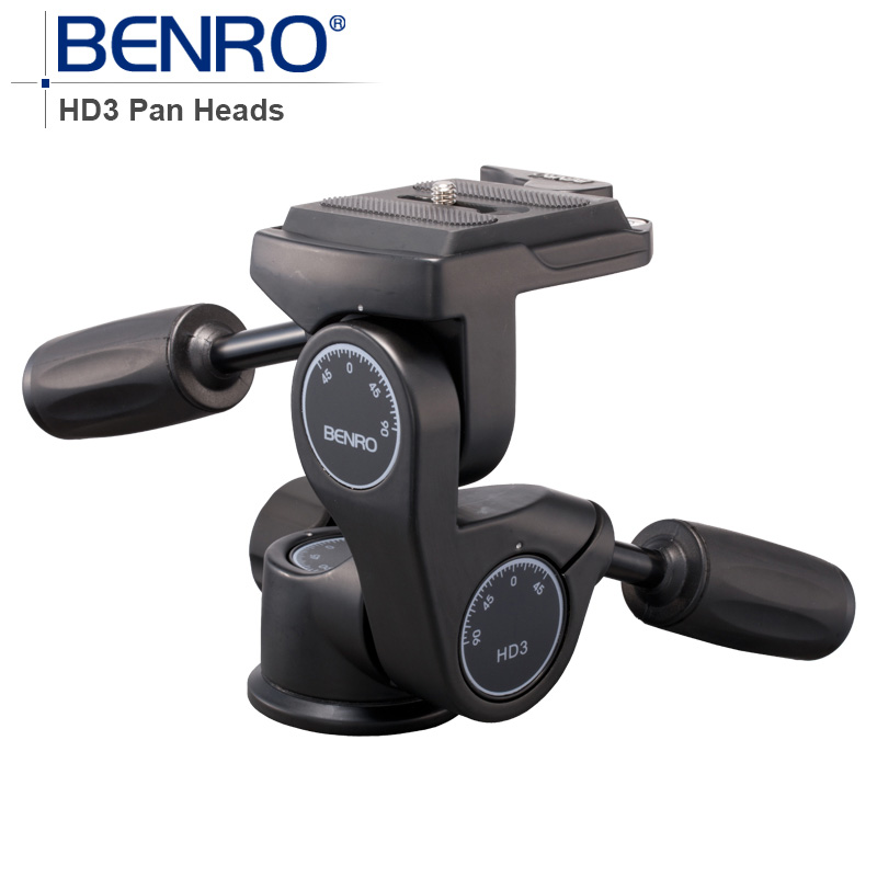 Benro HD Series 3-Way Pan Heads HD3 Professional Magnesium Alloy tripod head Panhead Weight 0.96kg Max Loading 12kg benro pc0 head professional panoramas heads for camera magnesium alloy panhead panoramas clamp max loading 5kg dhl free shipping