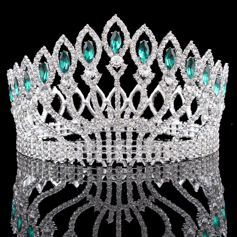 Women's Luxury Crystal Tiara Shining Rhinestone Large Crown for Pageant Wedding Bridal Beauty Contest Prom Party Crowns Hairband peacock star bridal wedding party quality sparkling pageant beauty contest black crystal tall tiara ct1389