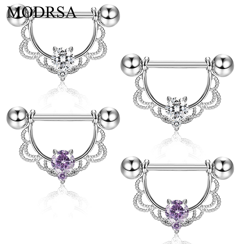 MODRSA 2pcs/lot Cool White Crystal Piercing Nipple Ring