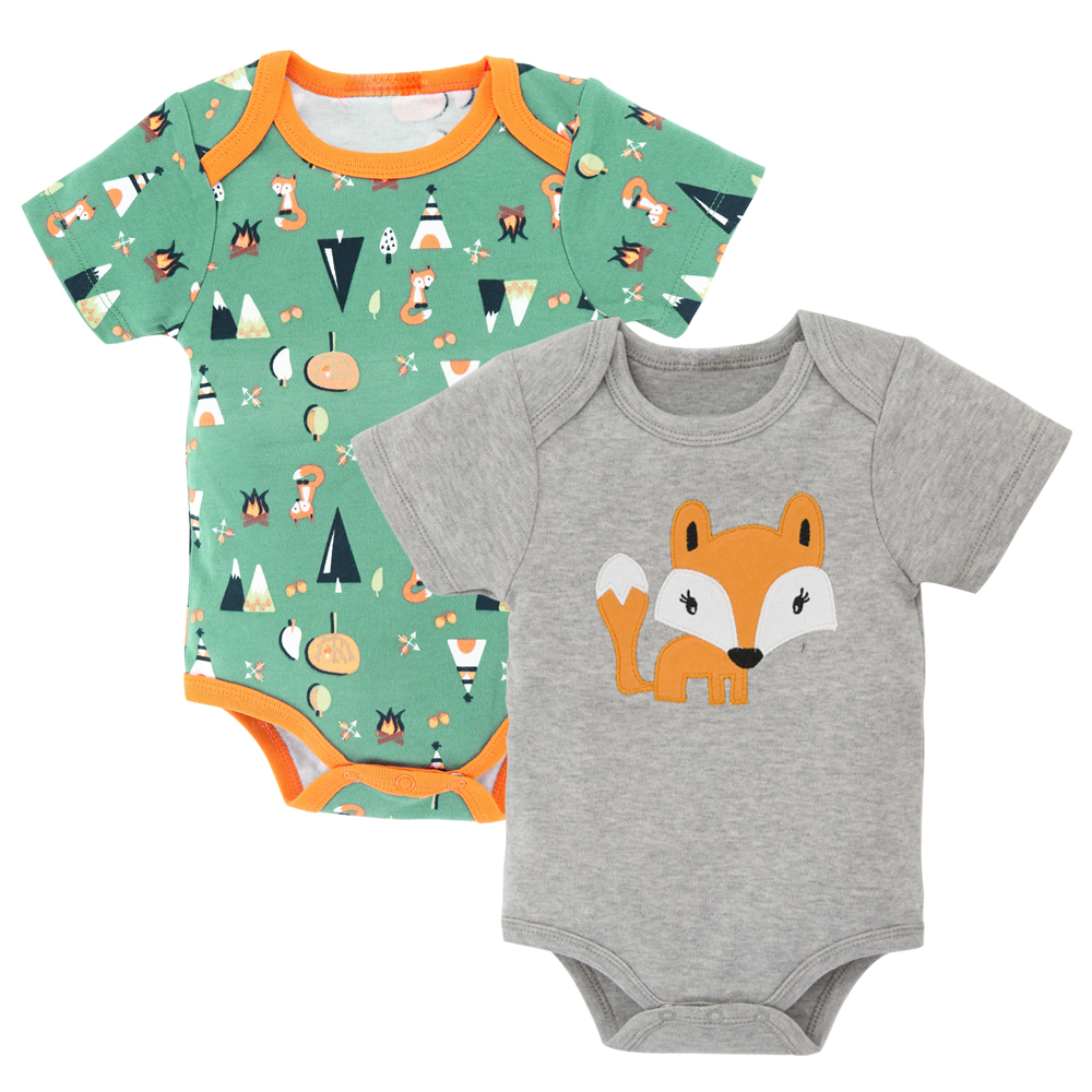 Kavkas 2pc/Set Baby   Romper   2017 Fox Pattern Print Short Sleeves Baby Jumpsuit Baby Boy Clothes Baby One-Pieces Outfits