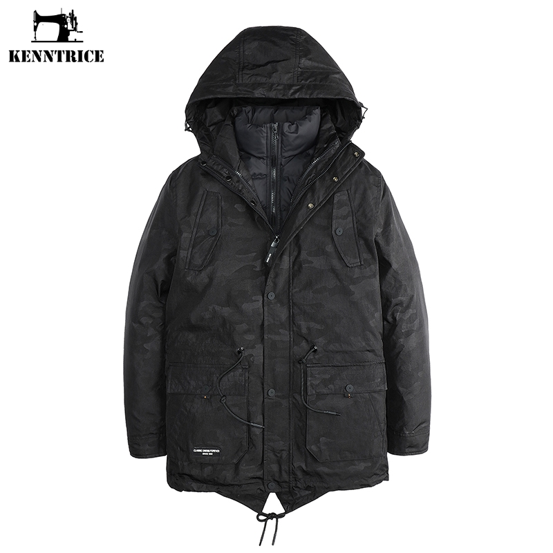 KENNTRICE Two Pieces Jackets Men Winter Jacket Men Camouflage Military Parka  Puffer Jacket Mens Winter Coats Long Trench Parkas d8e81c2ff72