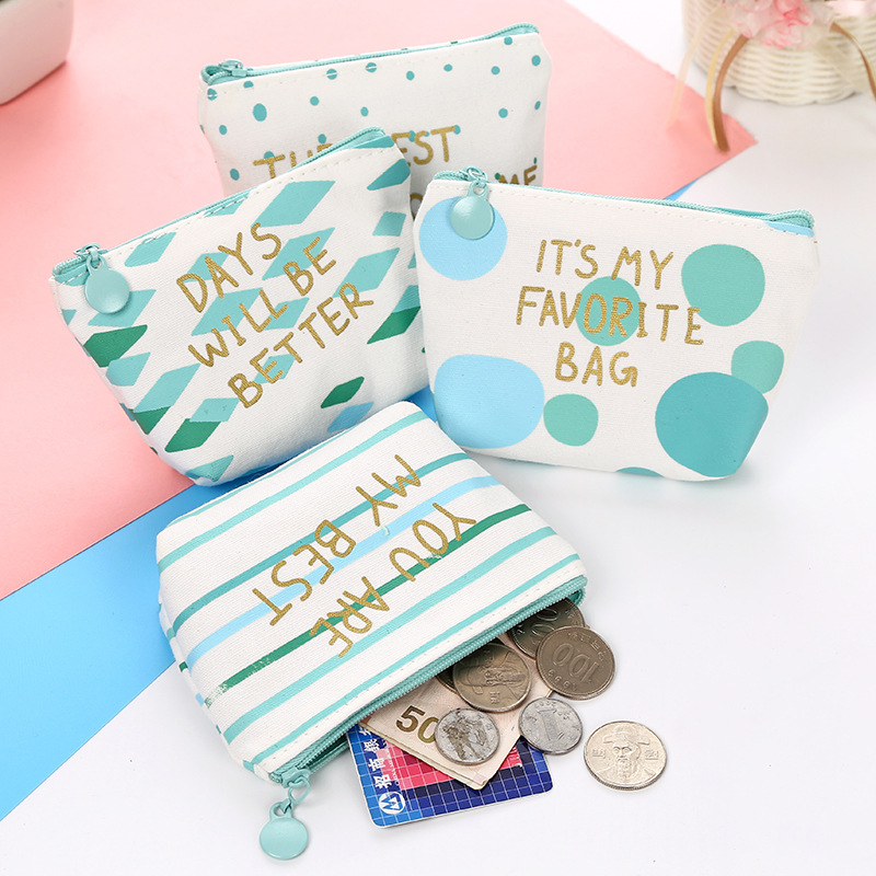 Mint Green Coin Purse Pouch Case Bags Canvas Cotton Mini Blue Storage Box Money Zero Coin Storage Holder Case Key Containers Zip greenco mini food storage containers condiment and sauce containers baby food storage and lunch boxes leak resistant 2 3 oz each round containers set of 20