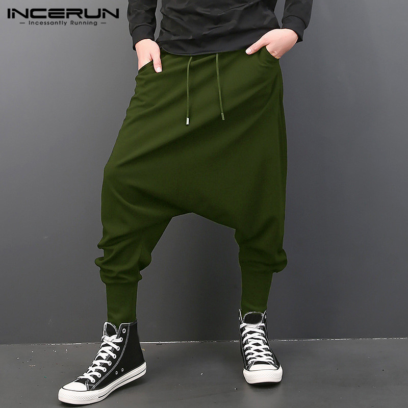 INCERUN Мужские штаны с эластичной резинкой на талии, на завязках, с заниженным шаговым швом, шаровары в стиле хип-хоп, спортивные штаны для бега, мужские брюки, модная одежда