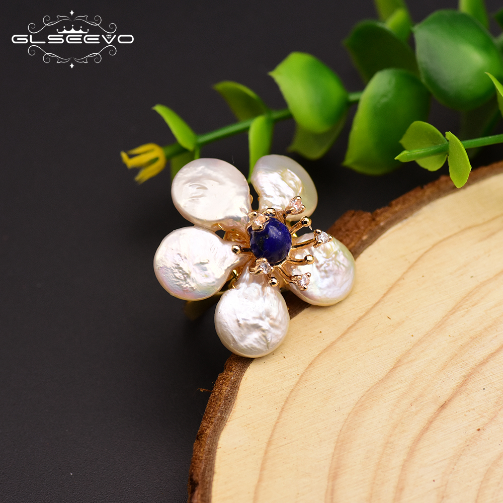 GLSEEVO 925 Sterling Silver Natural Fresh Water Pearl Flower Ring For Women Party Wedding Luxury Fine Jewelry Anillos GR0232