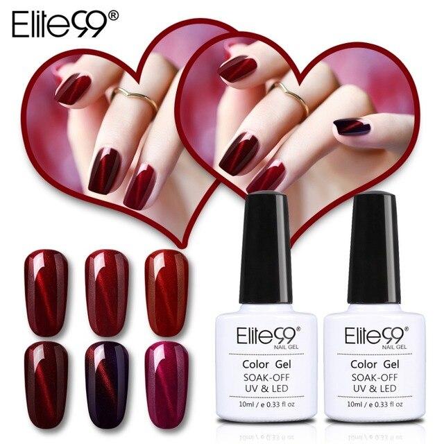 Elite99 10ml Wine Red Cat Eye Varnish Soak Off Nail Gel Lacquer ...