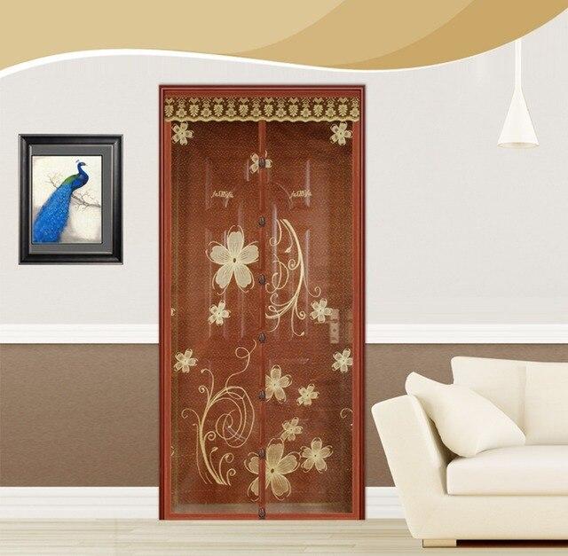 FUYA New Top Quality Hands Free Brown Magnetic Magic Door Screen Mosquito Net Magnetic Sheer Curtains Mesh Sheer Door Curtain