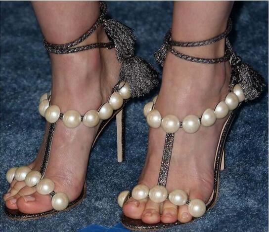 Fashion 2016 New Arrival Summer High Heel Lady Sandals Open Toe Pearl T-strap Lace-up Sandals Fashion Tassel Strappy Women Shoes new arrival lady fashion high heel shoes pointed toe dress shoes elegant flower closed toe party summer evening sandals c131