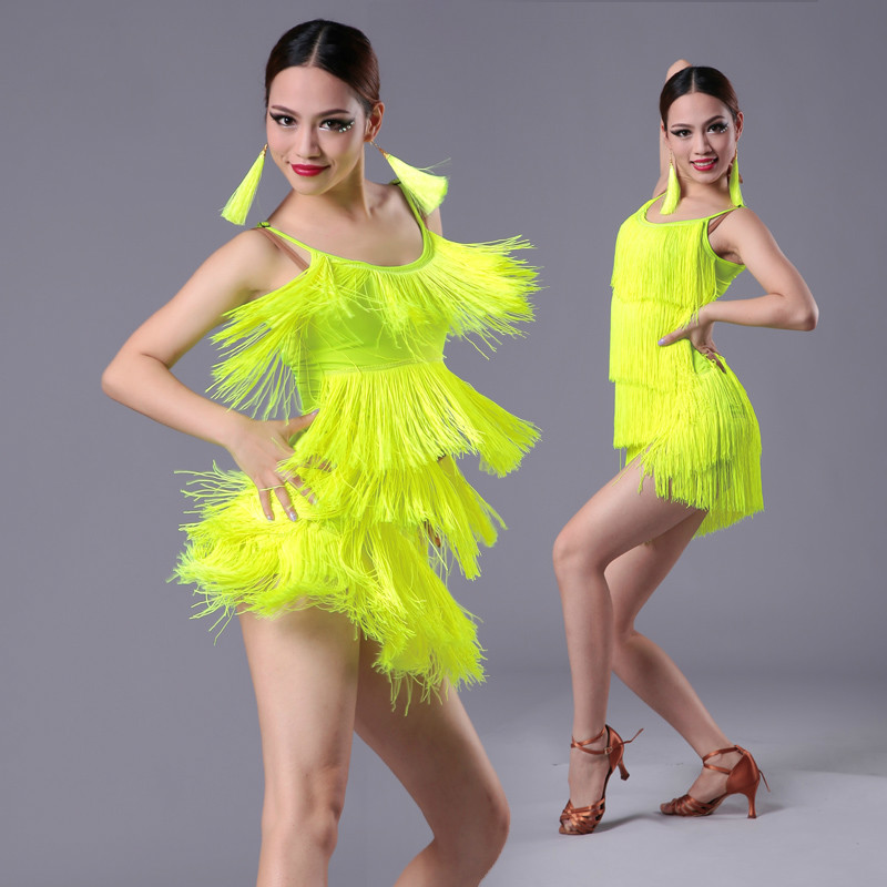 Kids Adult Latin Dance Dress For Girls Tassel Fringe Ballroom Salsa Tango Dance National Standard Competition Practice Costumes