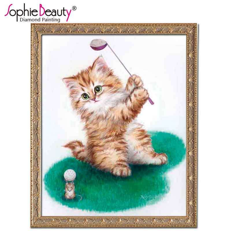 5D diamond embroidery DIY diamond Painting Cross stitch cat Playing golf pictures diamond mosaic picture home decor gift