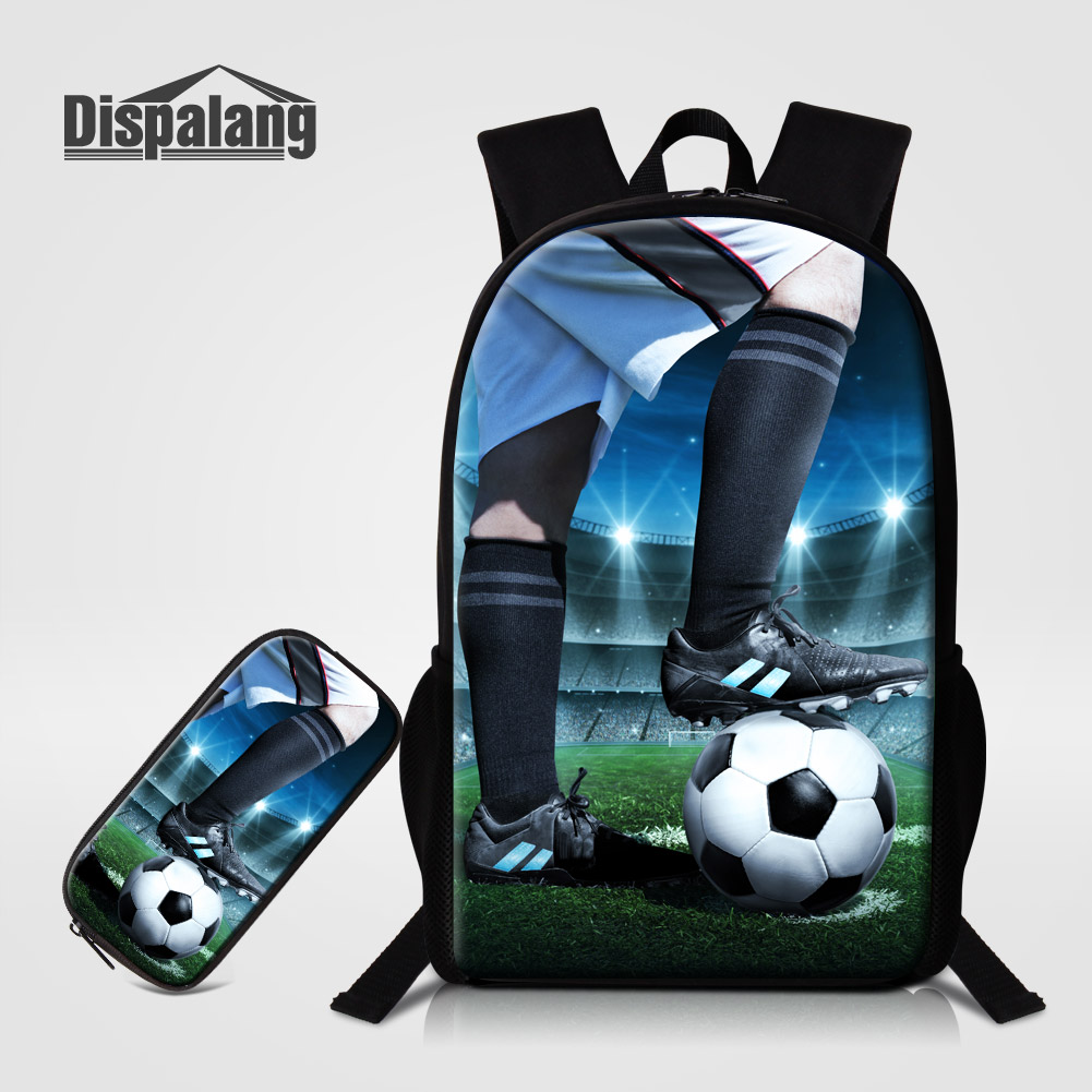 Dispalang 3D Printing Soccers Pupil School Bags 2 PCS/Set Kids Pencil Case Backpack Personality Bookbags For Boys Men's Bagpacks dispalang brand laptop backpack flamingo pattern multifunction rucksack men casual daypacks unisex school bookbags bagpacks pack