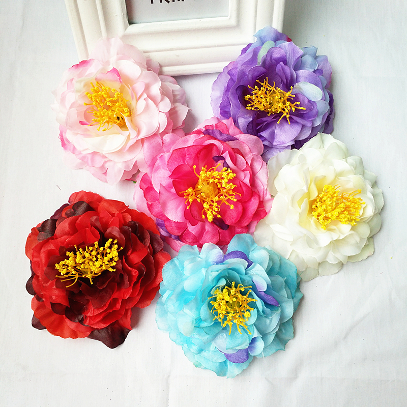 HappyKiss flower 12pcs DIY artificial peony flower heads Multicolor Road lead wedding flower Bouquet hotel background wall in Artificial Dried Flowers from Home Garden