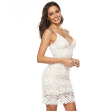 Hot Instagram Fashion Lace Sling Backless V-Neck Dress Free Shipping The New Short Party Clothes Bodycon Sexy Club Wear 2019
