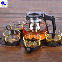 5 Pcs Heat Resistant Glass Chinese Tea Pot Set Kettle 1 Teapot 4 Cups Stainless Steel Strainer Puer Oolong