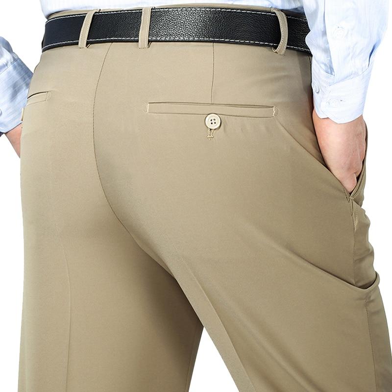 Suit Pants Mens Silk Dress Pants High Quality Straight Long Trousers Men's Suit Pants Anti Wrinkle 44 42 40 Business Dress Pants