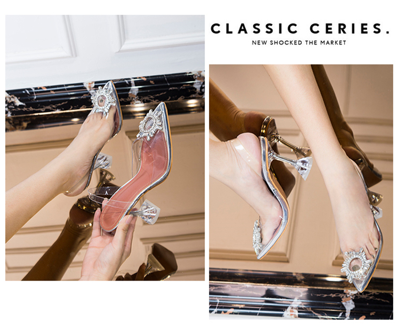 HTB1pnf3bwKG3KVjSZFLq6yMvXXaq Women's high heel sandals 2019 summer new pointed low heel rhinestone decorative sandals 42 large size jelly shoes