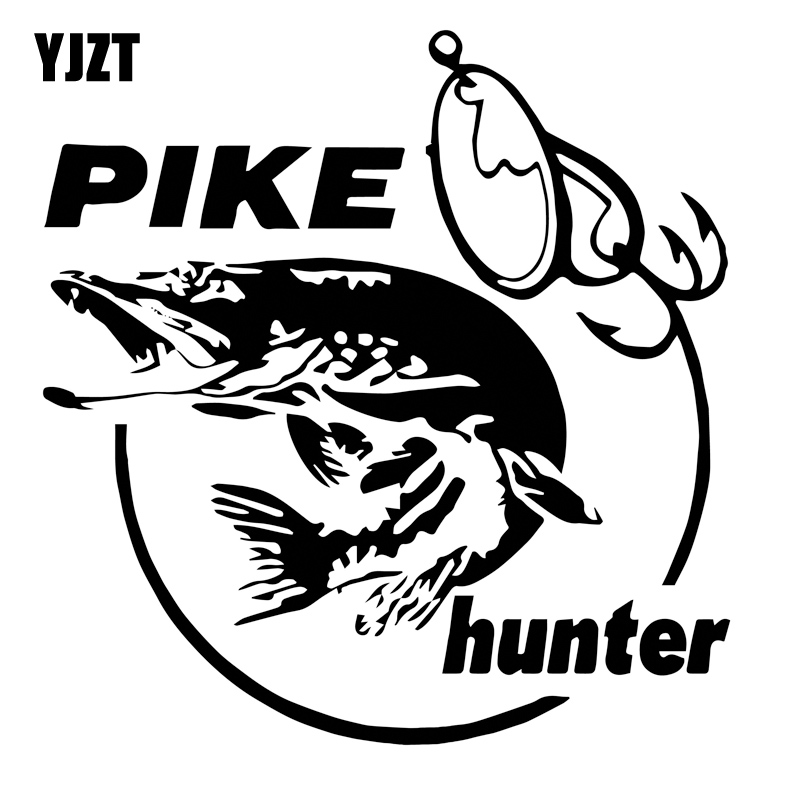 13.3cm*14cm Pike Hunter Fish Animal Car Sticker Vinyl Decal Decor S4-0376 hotmeini 2x cute animal pet man s best friend welsh corgi dog car sticker for wall truck canoe home decor vinyl decal 9 colors
