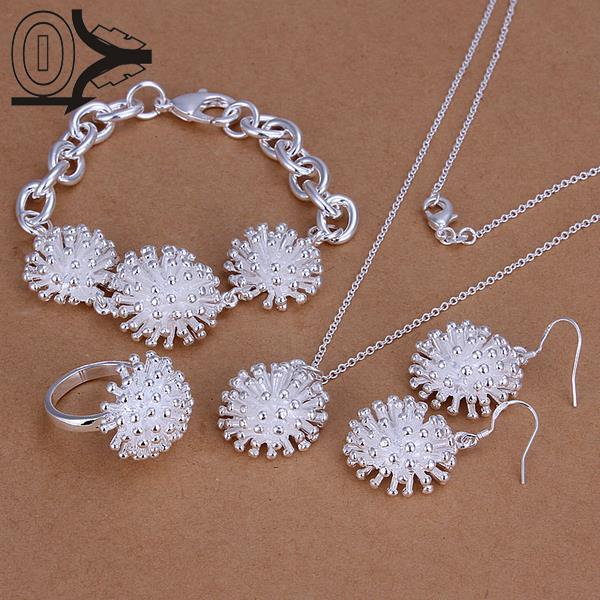 Hot Sale Silver Plated Jewelry Set,cheap Bridal Party Sets,fashion Fireworks Silver Necklace Bracelet Ring Earring Four-pieces Elegant And Graceful