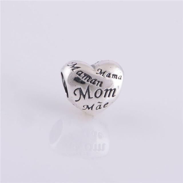 Amo Minha Mamã Mãe Encantos Do Coração 925 Sterling Silver Jewelry moda DIY Fazendo para Mulheres Marca Fit Charme Pulseiras & colares