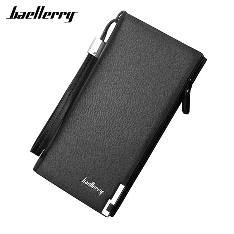 Baellerry Brand Business Fashion Men Wallets 2017 Black Male Clutch Bag With Card Holder Long Zipper Coin Purse  wallets men brand baellerry large capacity 16 card position credit card holder long zipper coin purse money bag purse cartera