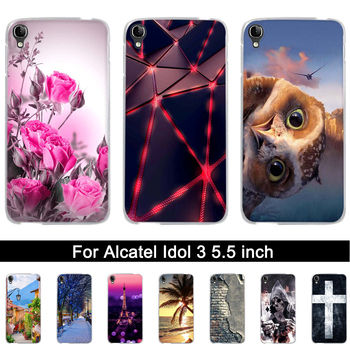 Soft Silicone Case For Alcatel One Touch Idol 3 5.5 inch Printing TPU Back Phone Cover For Alcatel Idol 3 6045 6045Y Shells Bags image