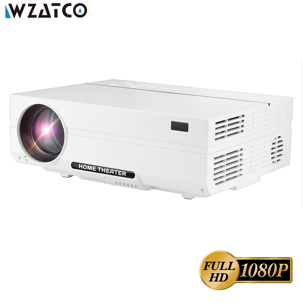 WZATCO CT61 Full HD 1080 p Android 7.1 Projecteur 4200 Lumens WIFI Bluetooth LED Projecteur 1920*1080 HDMI Accueil théâtre 3D Proyector