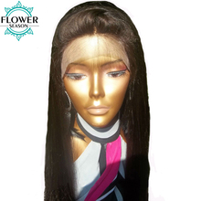 FlowerSeason Natural Hairline Straight Human Hair Lace Front Wig Glueless With Baby Hair For Black Woman Brazilian Non-Remy Hair