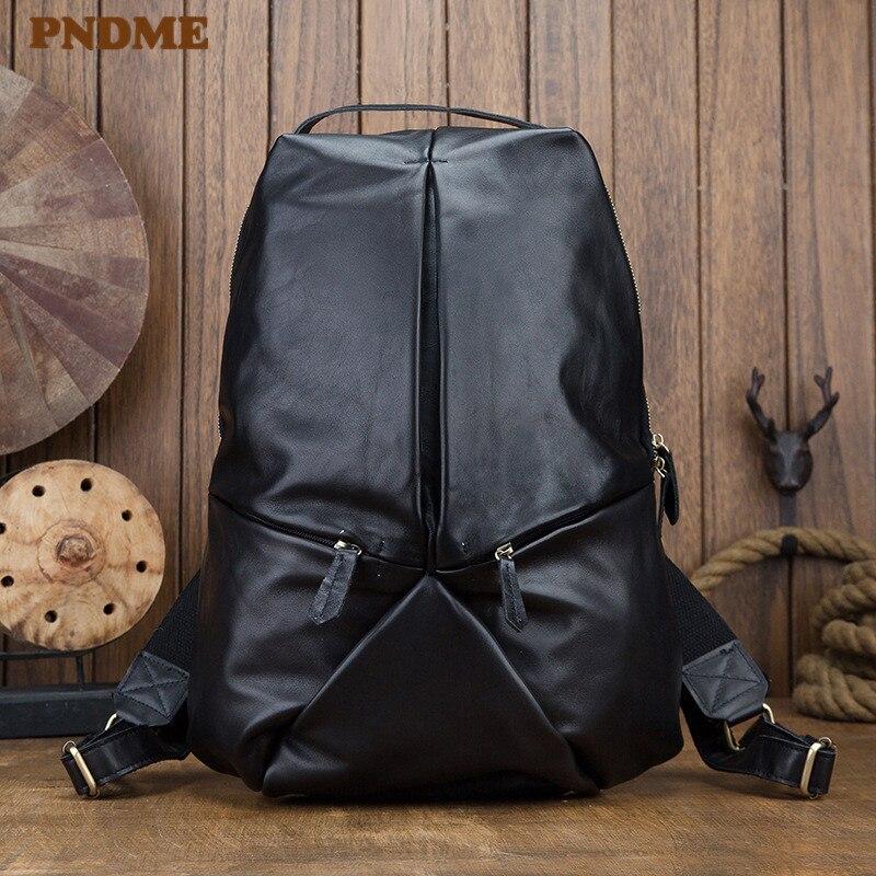 PNDME décontracté simple haut couche peau de vache noir hommes sac à dos créateur de mode à la main en cuir véritable sac à dos ordinateur portable bookbag 2019