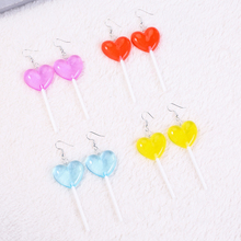 1pair Fashion candy Lollipop big size Gradient color bff friendship Drop Earrings For Women Jewelry birthday gift