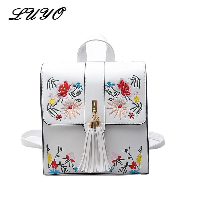 Luyo Fashion Embroidery Flower Girl Backpacks Cute School Bags Women Backpack Pu Leather Female Bag Mochilas Mujer Rugzak