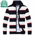 Nian AFS JEEP Thick Cotton Elasticity Cardigan Sweater 2015,Cross Striped casual Sleeve cotton Men's cotton Knitted Outwear