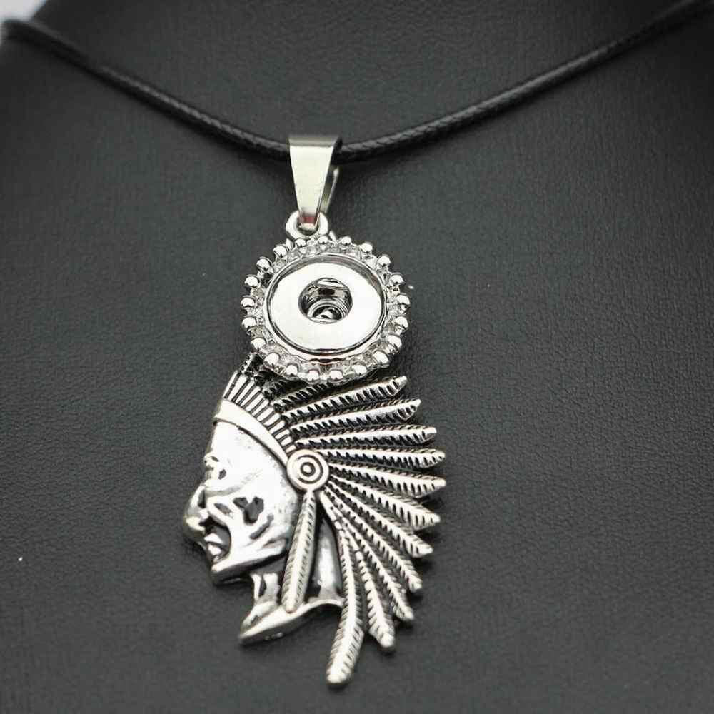 50 cm catena a maglia della collana special indians snap pendenti collana 18mm bottoni a pressione in metallo ginger snap gioielli collana