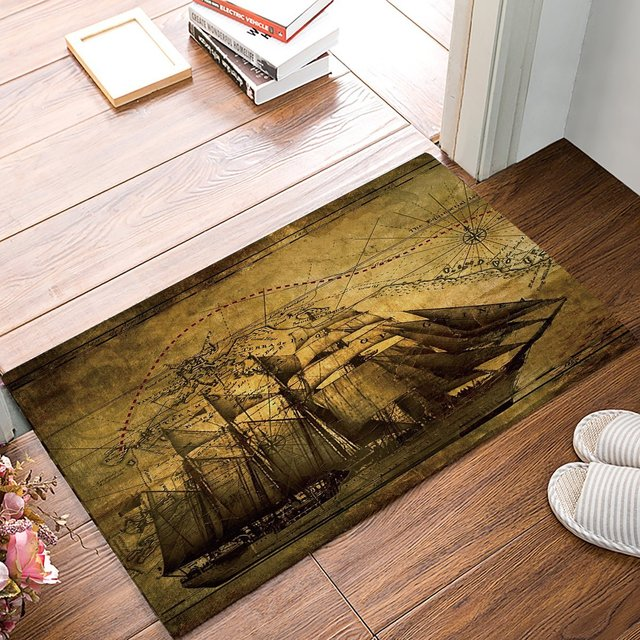 Retro Ships Route Sailing Boat Nautical Anchor Map Door Mats Kitchen Floor Bath Entrance Rug Mat Absorbent Indoores