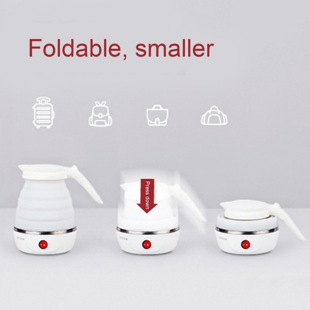 0.6L Compact Size Home Electric Kettle Durable Silicone Foldable 850W Portable Travel Camping Water Boiler Electric Appliances 700w portable food grade plasctic electric kettle thermal insulation teapot 0 5l home travel water boiler seperated underpan