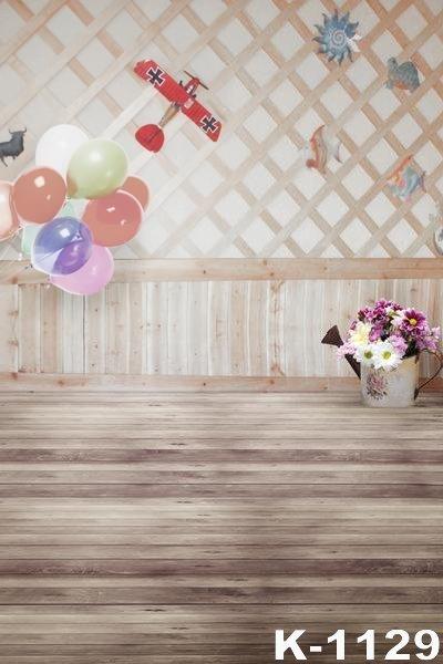 Retro Vintage Holz Haus Kulissen 5x7ft Bunten Luftballons Schonheit
