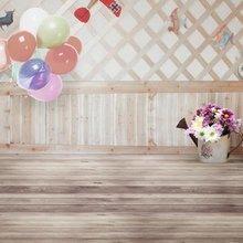 Fondos Retro/Vintage casa de madera 5x7 pies globos coloridos belleza en maceta Boda boda foto de niños estudio fondo de vinilo