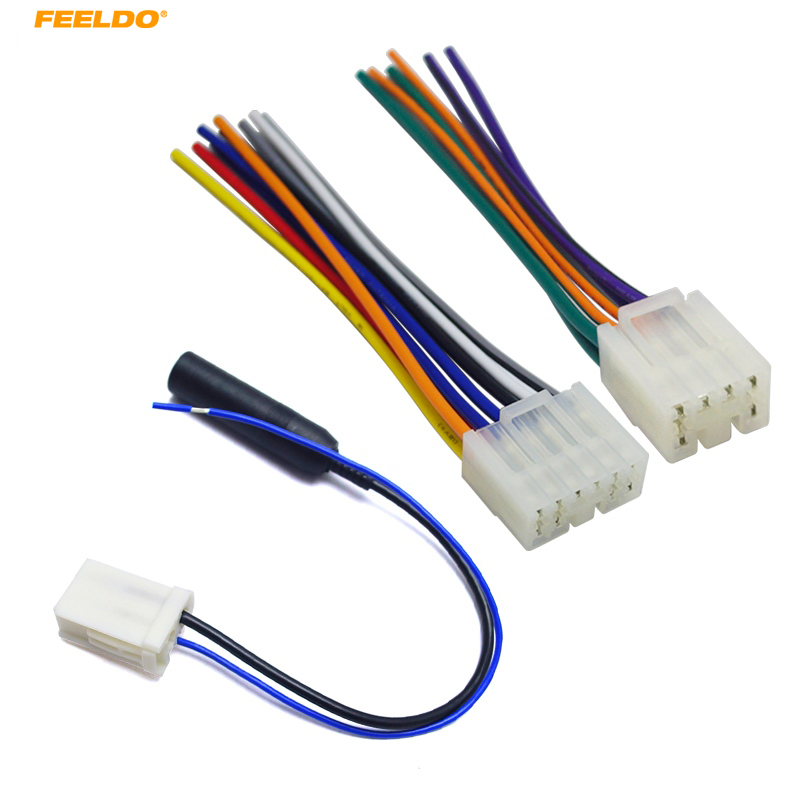 Feeldo 1set Car Audio Stereo Wiring Harness Adapter Plug border=