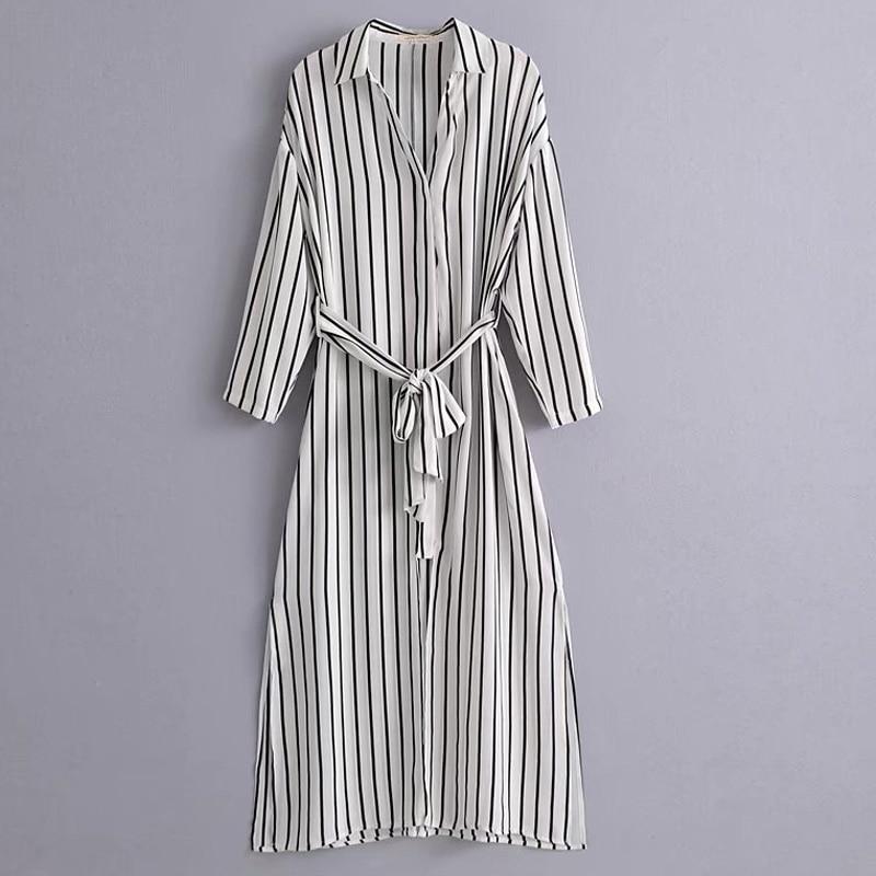 Long loose dress black and white striped straps split shirt dress wild  casual women dress 2018 7a38966de