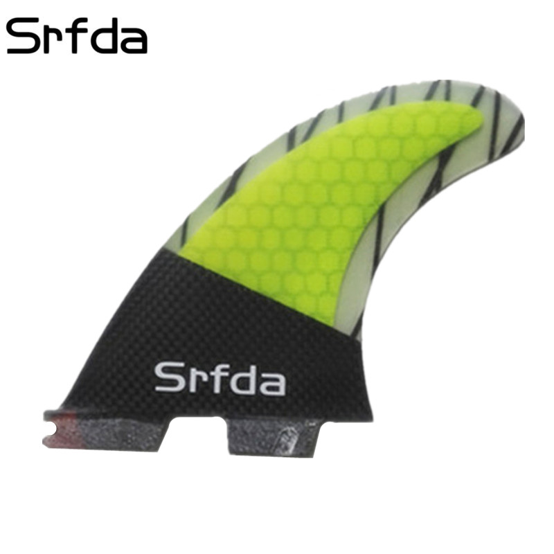 srfda Free shipping new style yellow and carbon fiberglass FCS II M size G5 fins 3pcs