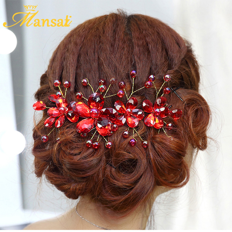 HOT Sale Red Crystal Headband Handmade Women Floral Hair Pin Bride Bridesmaid Hair Jewelry Accessories Party Prom Headpiece SG08