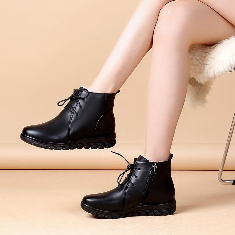 Cuir Noir Nouveau Chaussures Peau En Laine Neige Cheville Femmes Confortable De Dentelle Coton Vache Rétro Femme Bottes Hiver 2018 Chaud SqP1dHwS