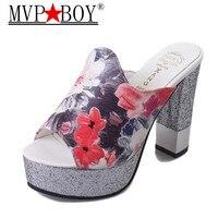 Mvp Boy Woman Fashion Slip On 11cm High Heel Slippers Flip Flop Soft Leather Footwear Female Shoes Sexy Women Leisure Loafers
