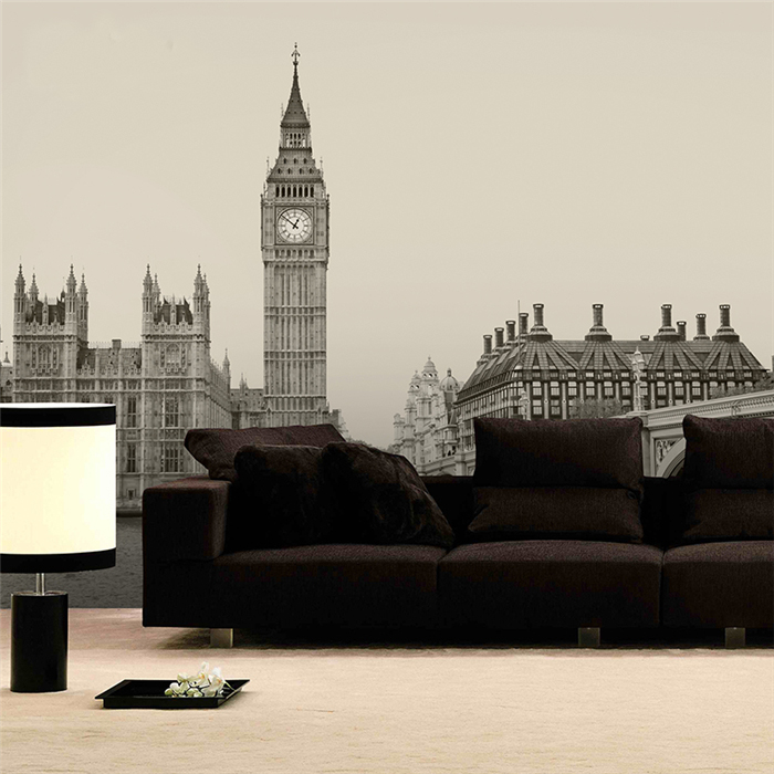 Black&White Building London City Lanscape 5d Papel Mural Wallpaper 3d Wall Photo Mural for Living Room Background 3d wall mural shinehome black white cartoon car frames photo wallpaper 3d for kids room roll livingroom background murals rolls wall paper