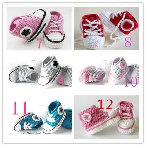 Handmade Baby Boys Crochet Booties  Knitted Sport Shoes Soft Sole Indoor Casual Shoes Cotton