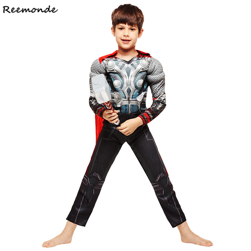 Halloween Genuine The Avengers Thor Kids Muscle Cosplay Costumes SuperHero Bodysuits Fancy Party Jumpsuits Clothes For Boys