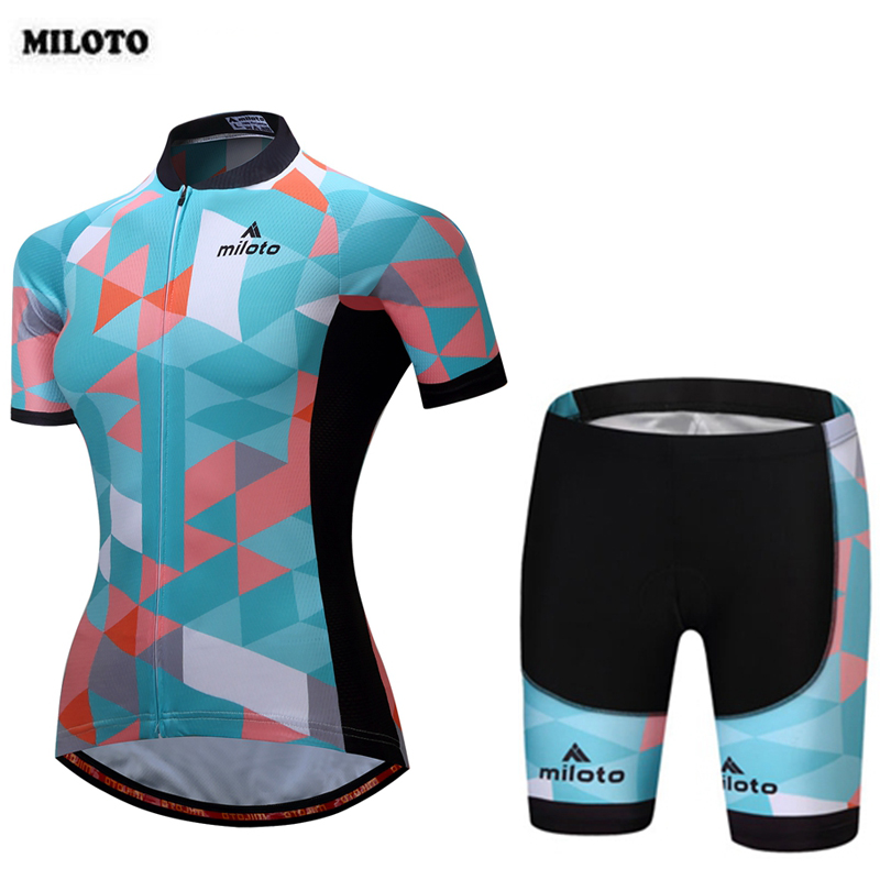 MILOTO Team Women Summer Bike Clothing Set Ropa Ciclismo Cycling Jersey +Padded Cycling (Bib) Shorts Suit S-4XL